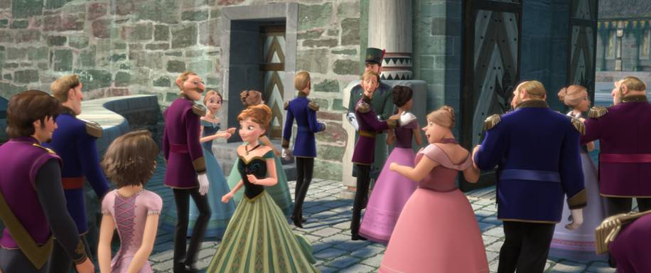 "Caption: WELCOME TO ARENDELLE – Elsa's coronation draws guests from far-away lands—and movies. From ""Tangled,"" Eugene Fitzherbert aka Flynn Rider and Rapunzel even made the guest list."